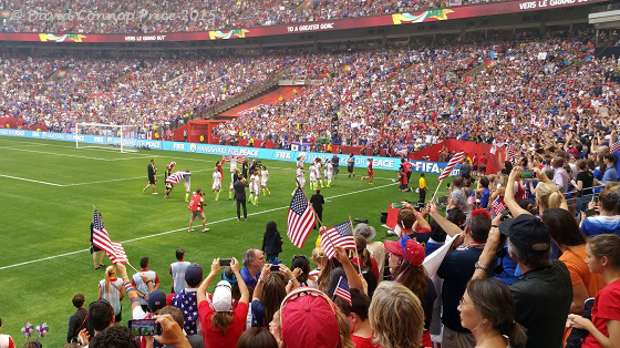 The USA celebrates winning the Women's World Cup 2015