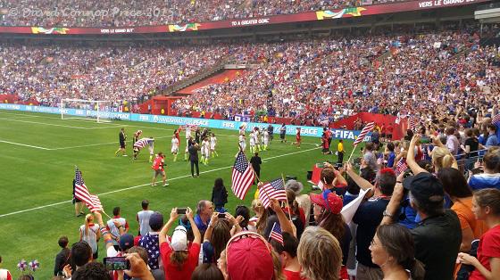 The USA celebrates winning the Women's World Cup 2015