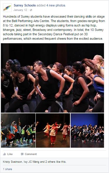 Surrey Schools Facebook sample - Dance festival