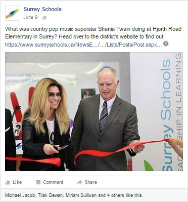 Surrey Schools Facebook sample - Shania Twain
